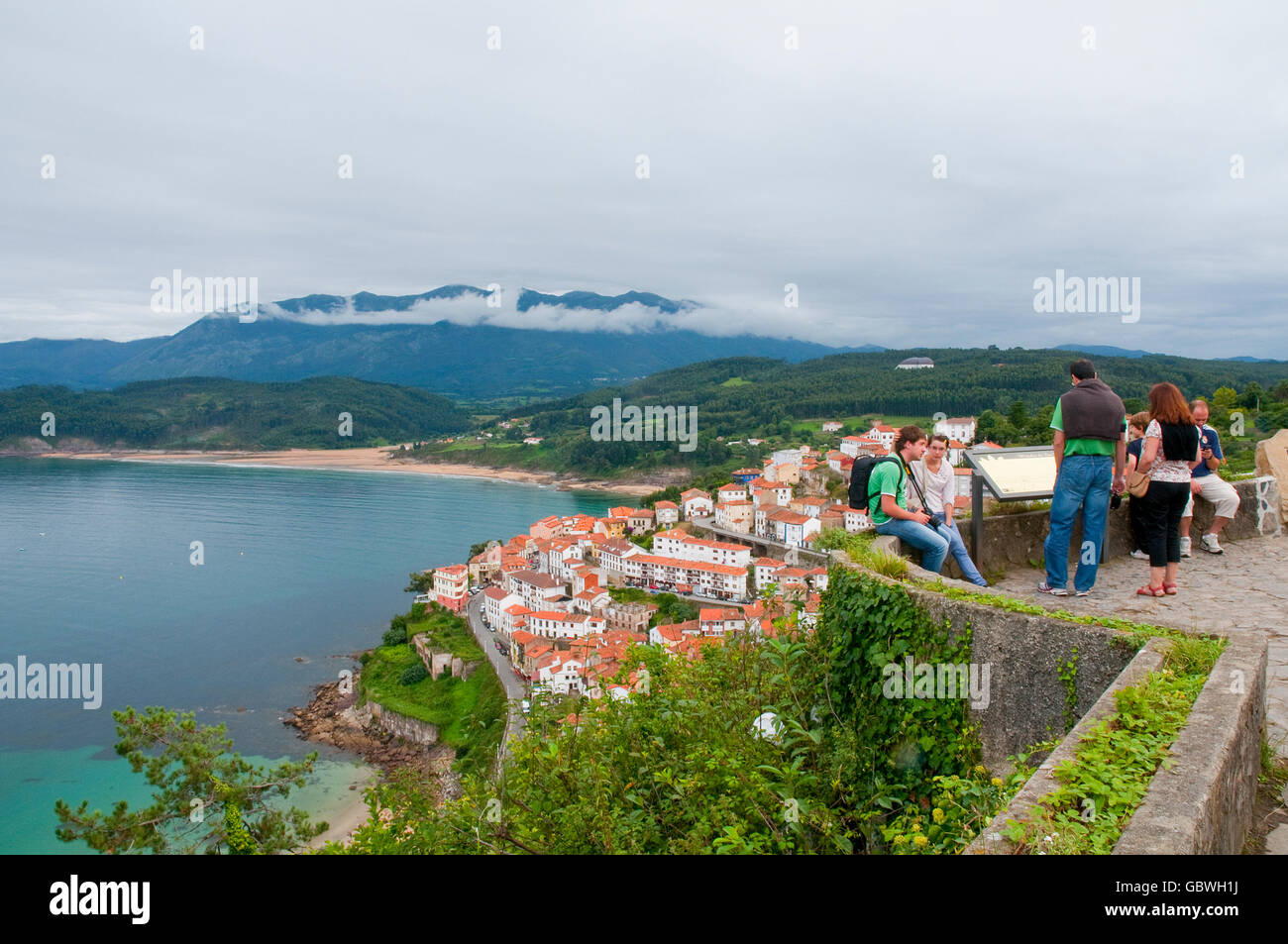 San Roque viewpoint and overview of the village. Lastres, Asturias, Spain. - Stock Image