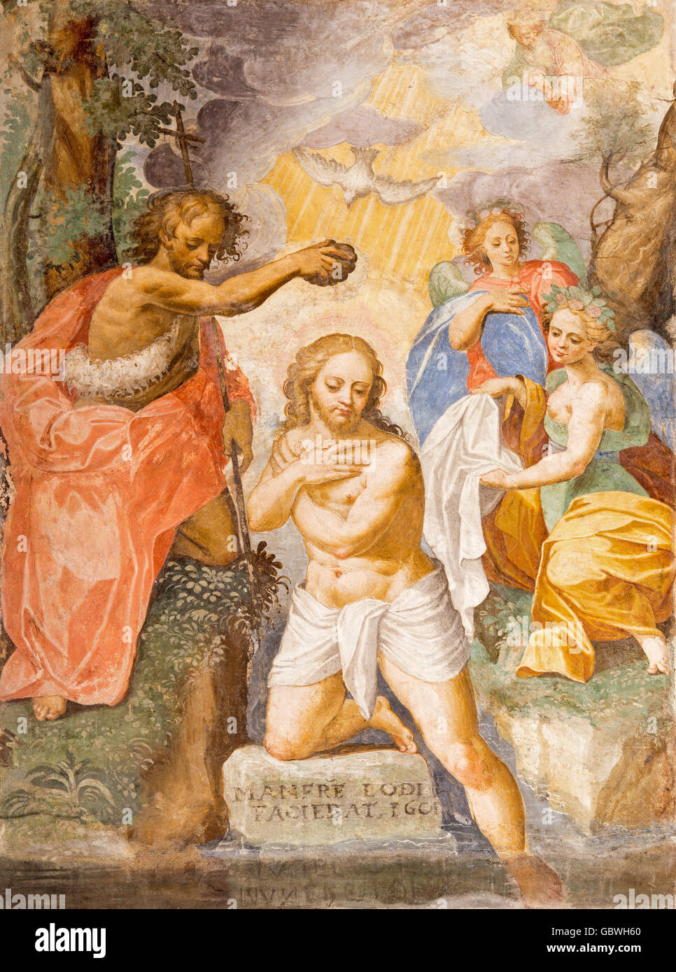 CREMONA, ITALY - MAY 24, 2016: The fresco of Baptism of Christ in Chiesa di San Agostino by A. Mainardi (1593). - Stock Image