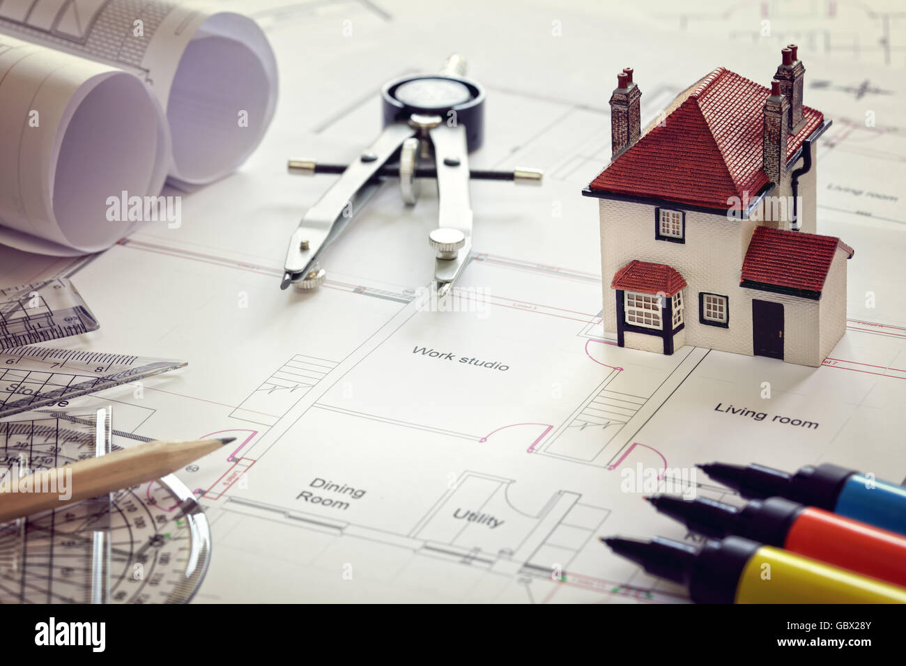 House plan blueprint and model house concept for new house design or house plan blueprint and model house concept for new house design or home improvement malvernweather Gallery