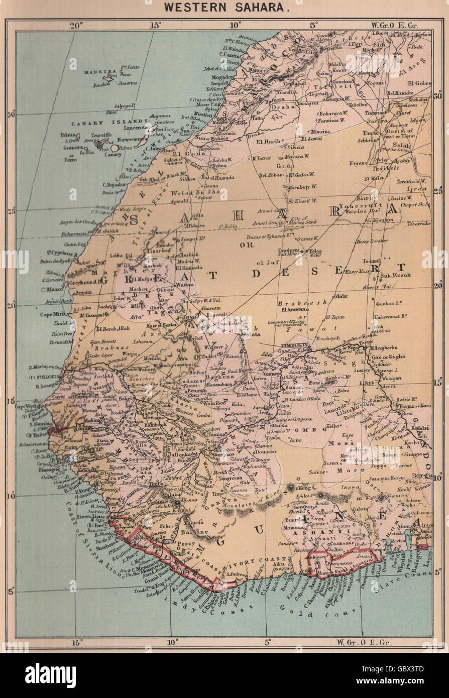 Western Sahara. Africa, 1885 antique map Stock Photo ... on arabian peninsula map, sudan map, namib map, congo basin map, great rift valley map, atlas mountains map, mecca map, gobi map, lake tanganyika map, zambezi river map, zagros mountains map, red sea map, kalahari map, madagascar map, desert map, sahel map, cape of good hope map, taurus mountains map, atacama map, africa map,