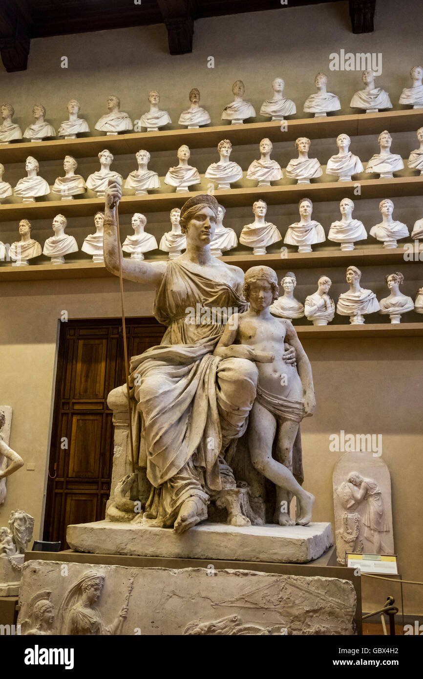 Marble busts and statues in the room of the 19th century in the Galleria dell Academia in Florence, Italy - Stock Image