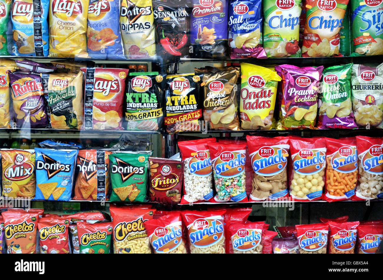 Snacks And Potato Chips In A Supermarket Barcelona
