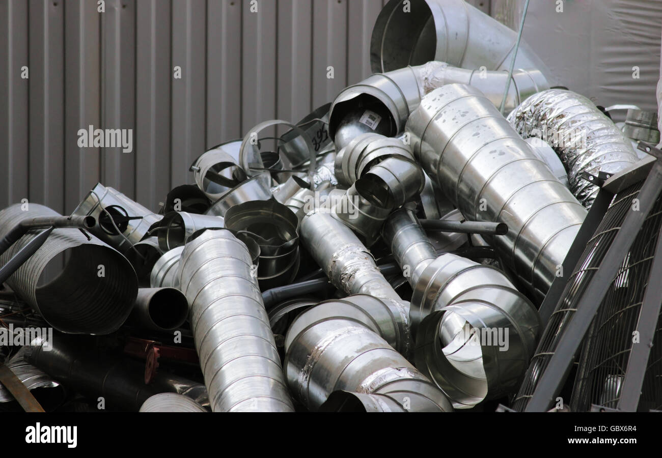 wastes from the production of galvanized steel ventilation ducts - Stock Image