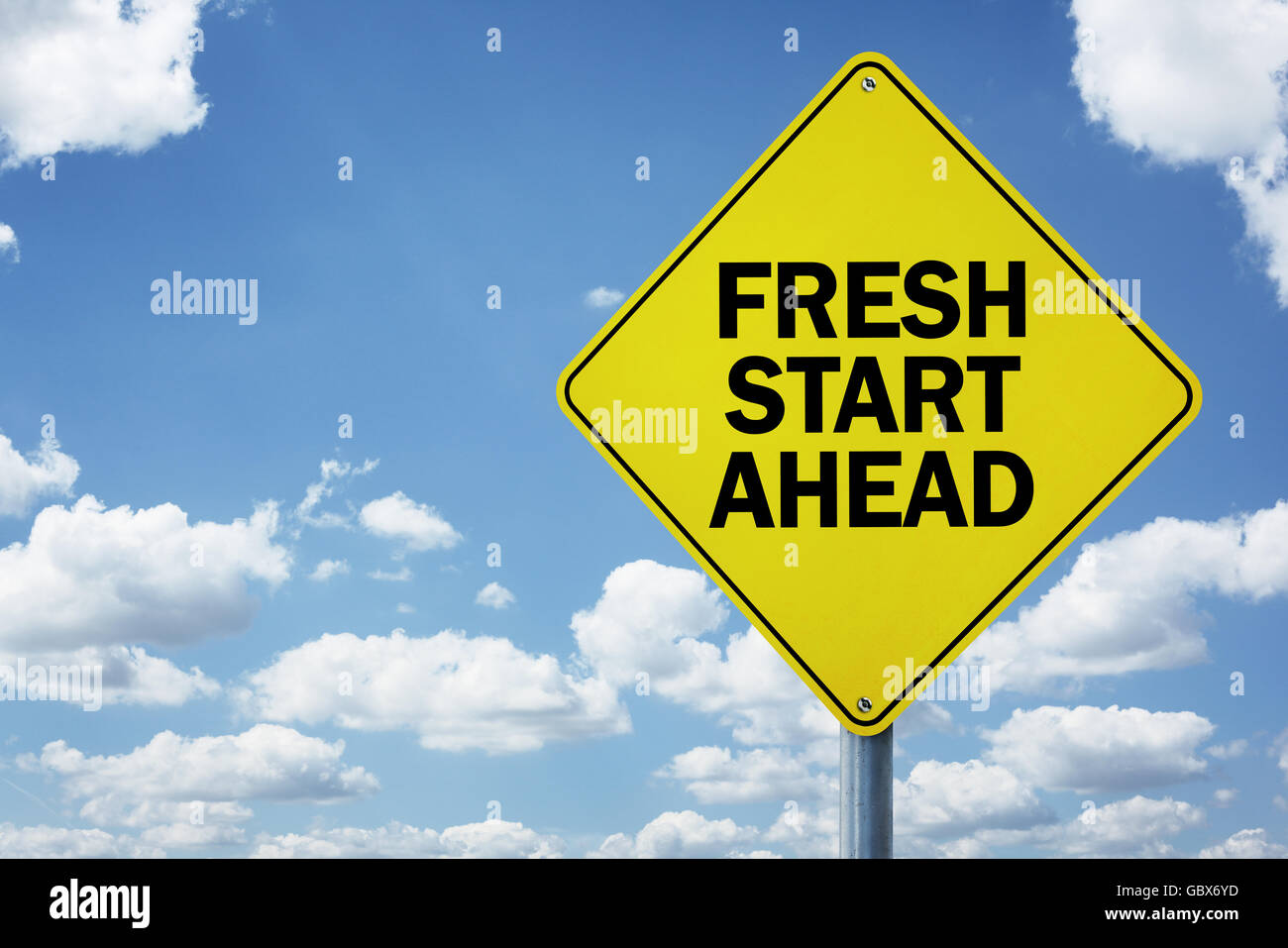 Fresh start ahead road sign - Stock Image