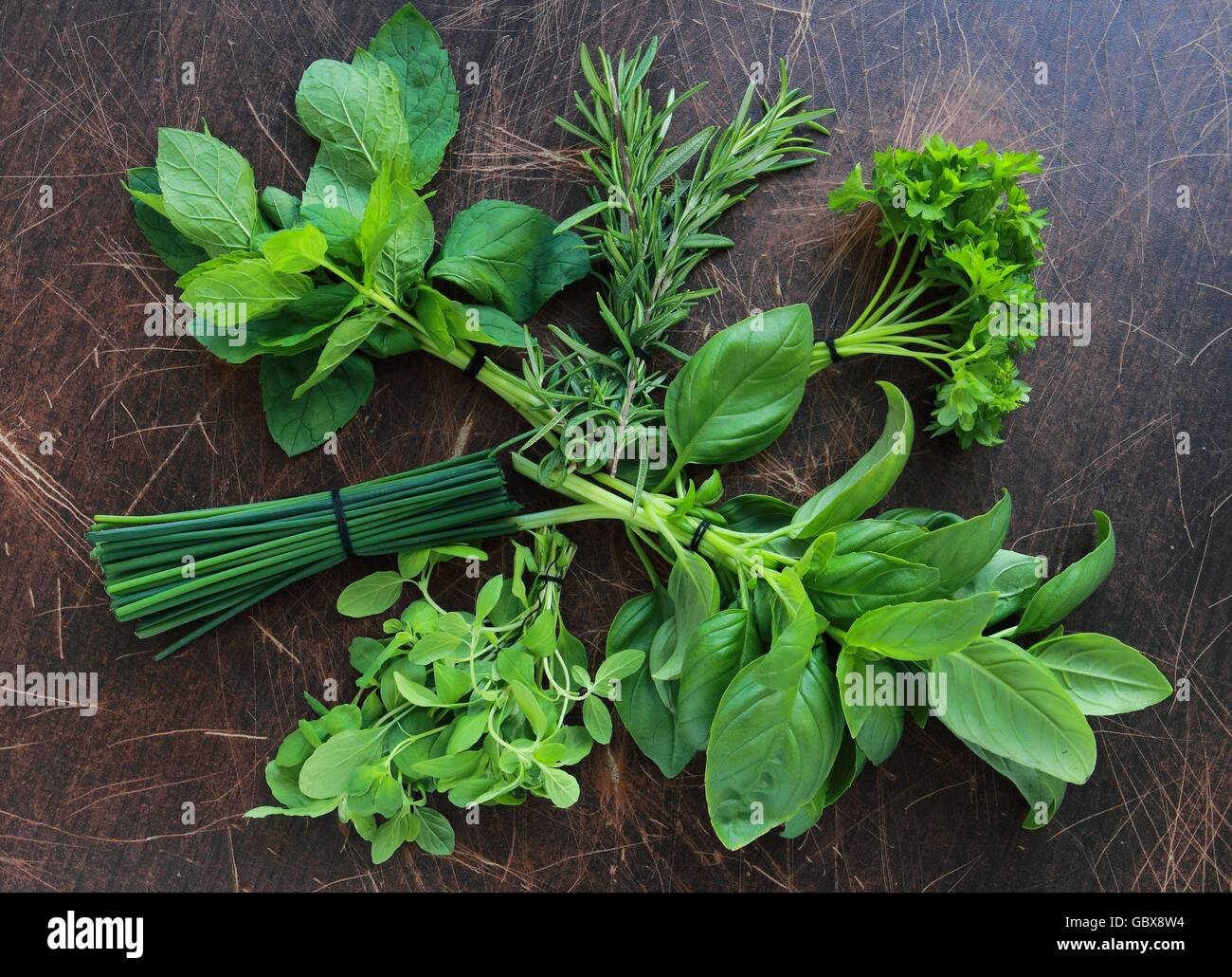 Fresh herbs from garden, view from above - Stock Image