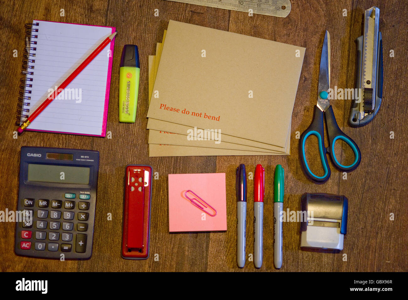 flat lay office equipment - Stock Image