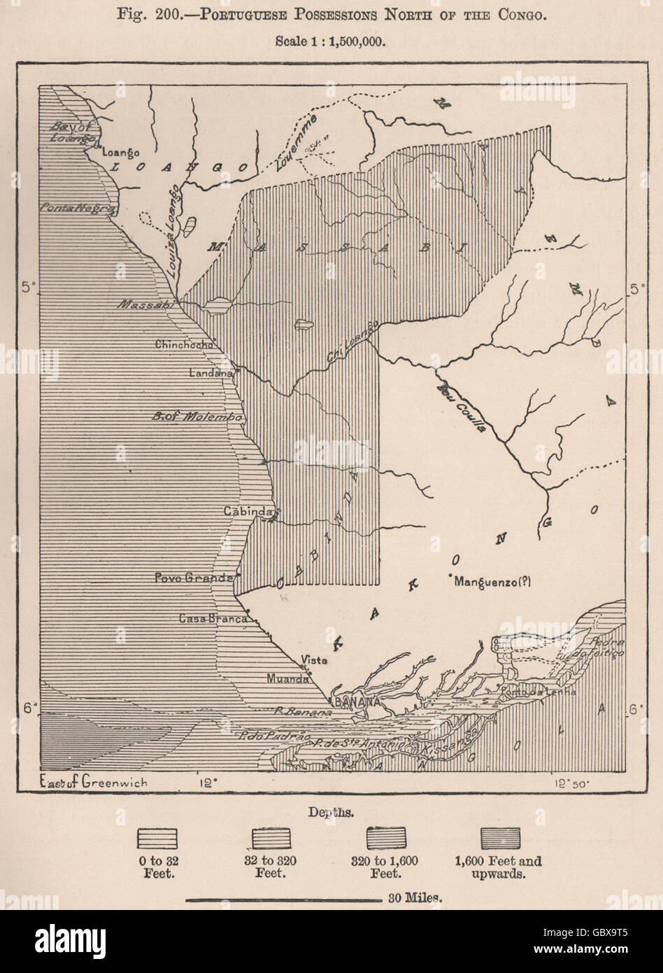 Tchiowa Province, Angola. Portuguese possessions North of the Congo, 1885 map - Stock Image