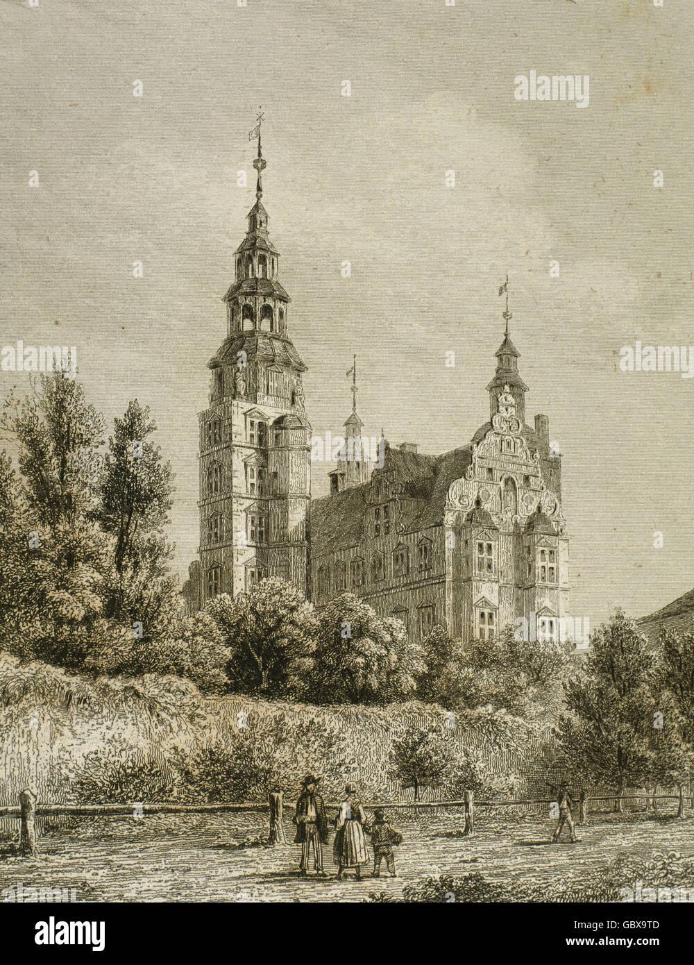 Denmark. Copenhagen. Rosenborg Castle, 1606. Dutch Renaissance style. Engraving, 1845. - Stock Image