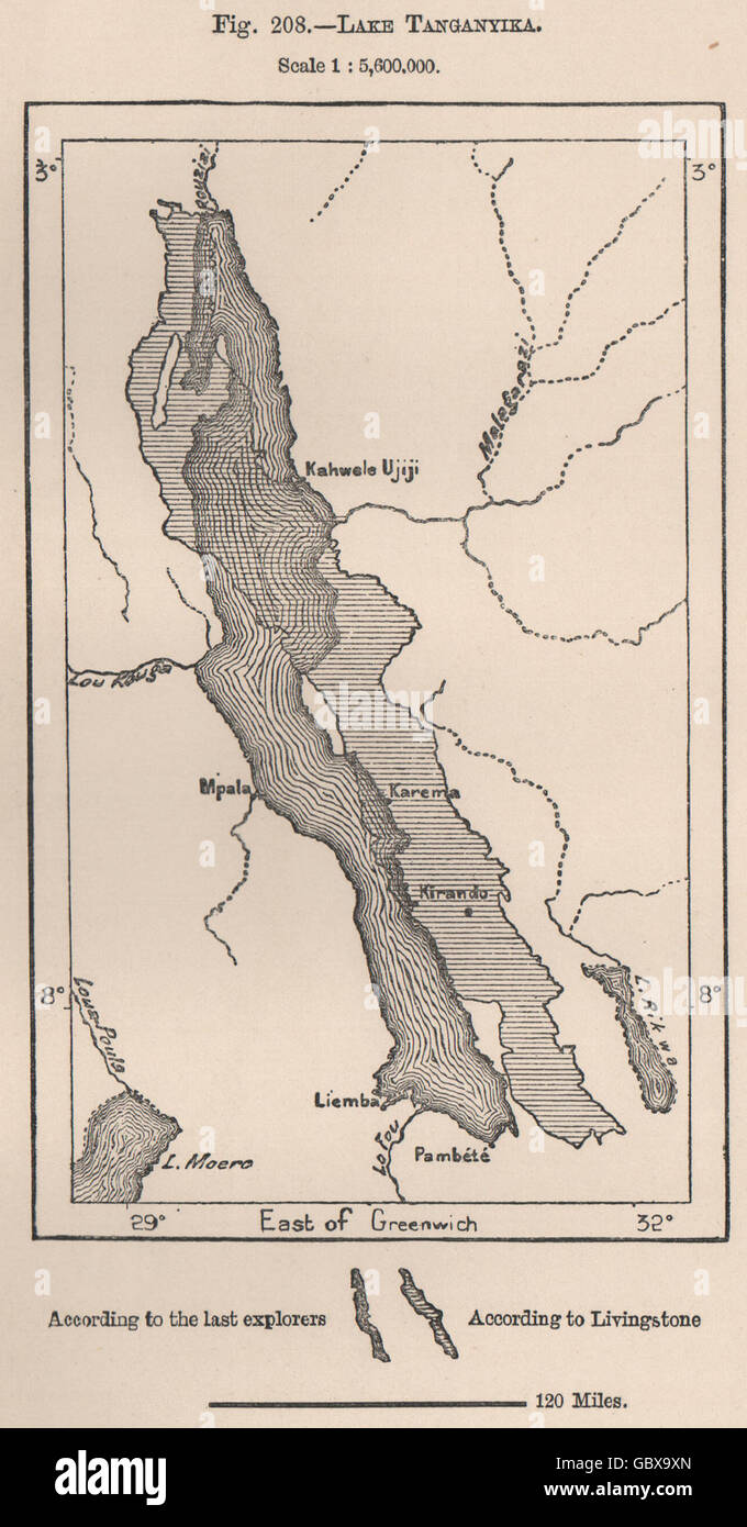 Lake Tanganyika On A Map Of Africa.Lake Tanganyika According To Livingstone Others Africa 1885
