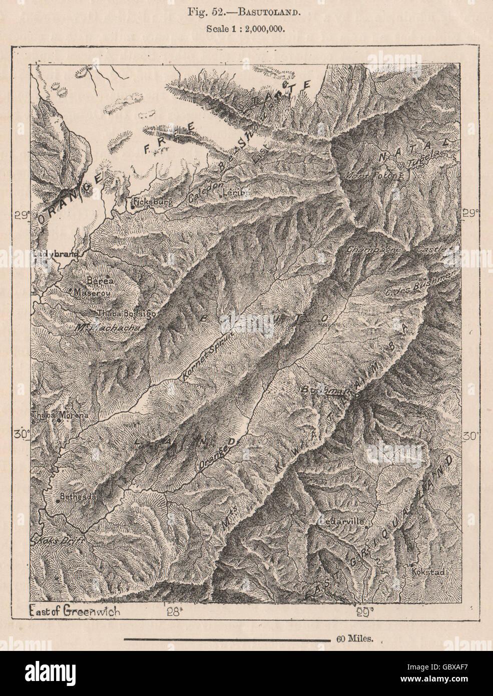 Lesotho. Lesotho, 1885 antique map - Stock Image