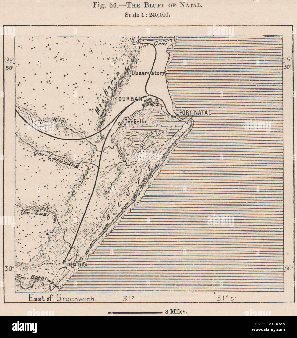 Natal South Africa Map.The Bluff Of Natal South Africa 1885 Antique Map Stock Photo