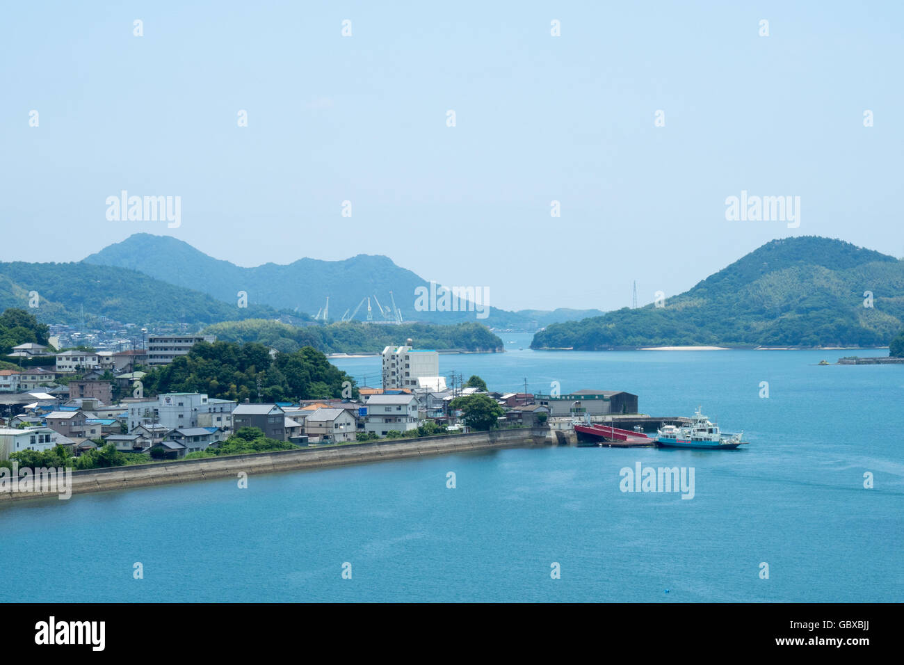 Seaside town on Innoshima Island in the Seto Inland Sea. - Stock Image