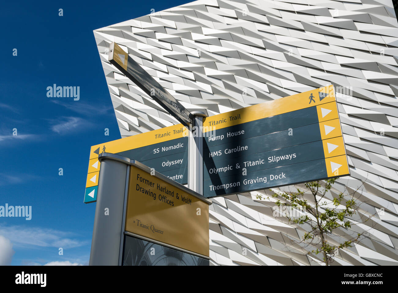 Close up of tourist sign posts at Titanic Belfast visitor centre, Northern Ireland - Stock Image