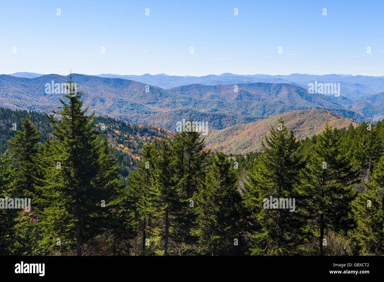 Mountain view highest elevation on Blue Ridge Parkway road, Asheville, NC, USA - Stock Image