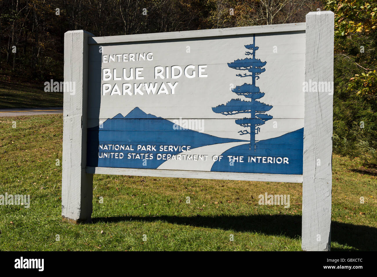 Entrance to Blue Ridge Parkway road sign, Asheville, NC, USA Stock Photo
