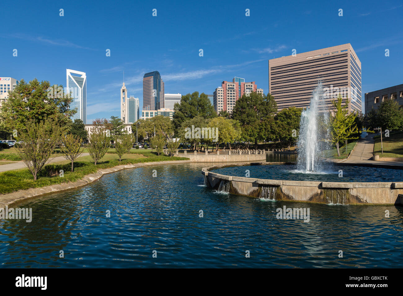 Charlotte skyline and water fountain, NC, USA - Stock Image
