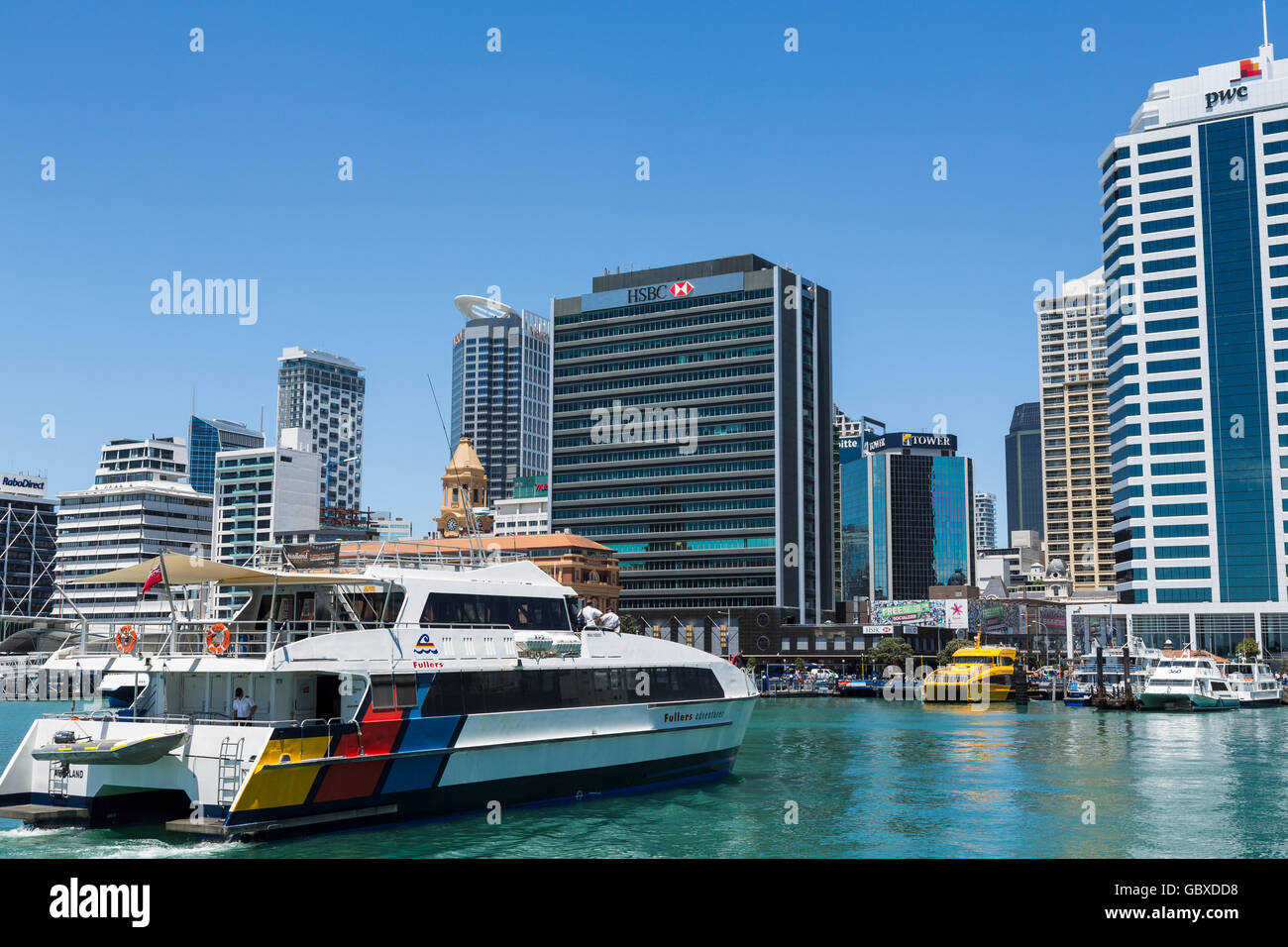 Ferry arrives at Auckland waterfront ferry terminal, New Zealand Stock Photo