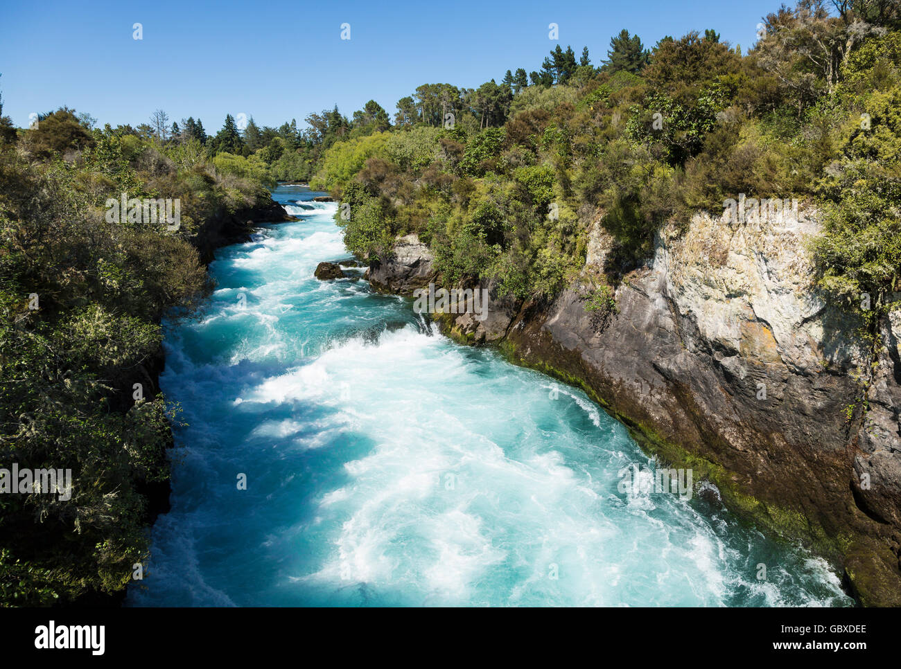 Hukafalls on Waikato River, Taupo, New Zealand - Stock Image