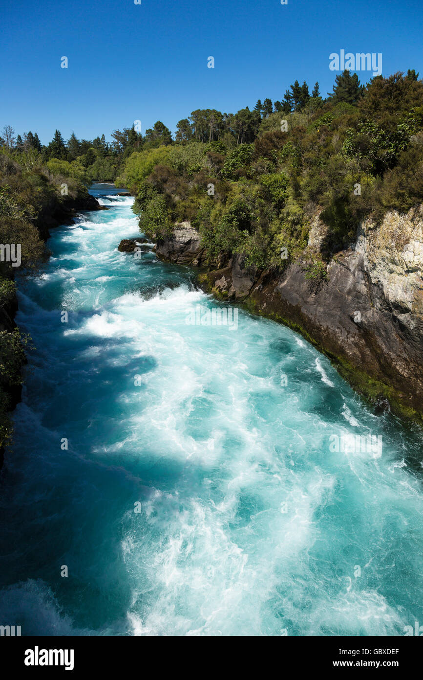Hukafalls on Waikato River, Taupo, New Zealand Stock Photo