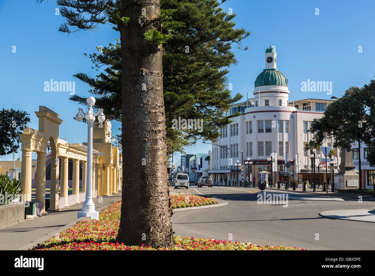 Art Deco T&G building along Marine Parade, Napier, New Zealand Stock Photo