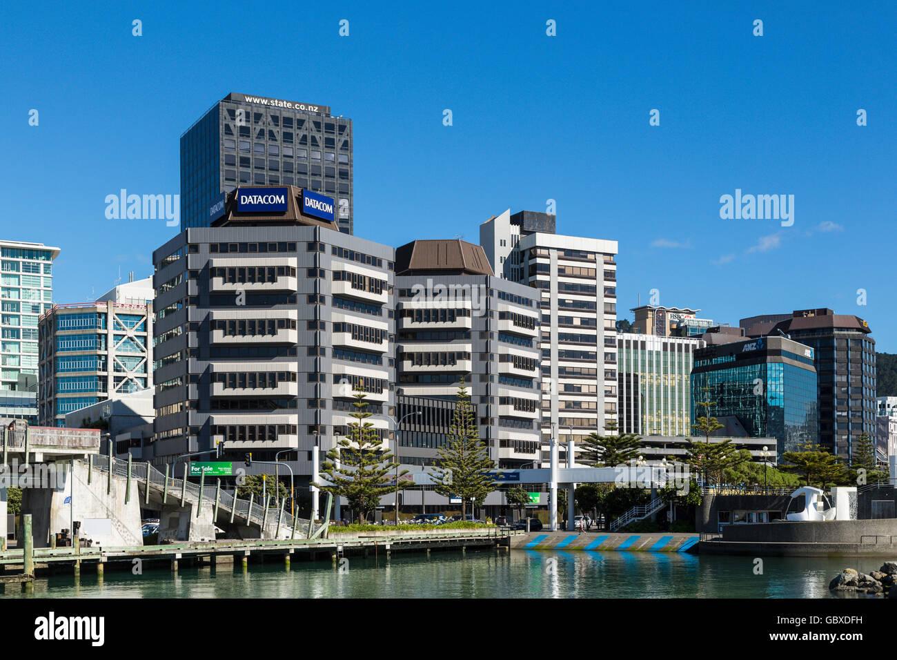 Wellington skyline the waterfront, New Zealand Stock Photo