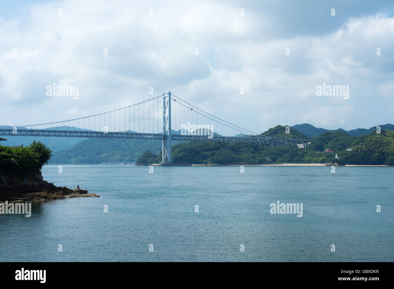 Innoshima Bridge connecting the islands of Innoshima and Mukaishima in the Seto Inland Sea between Honshu and Shikoku. Stock Photo