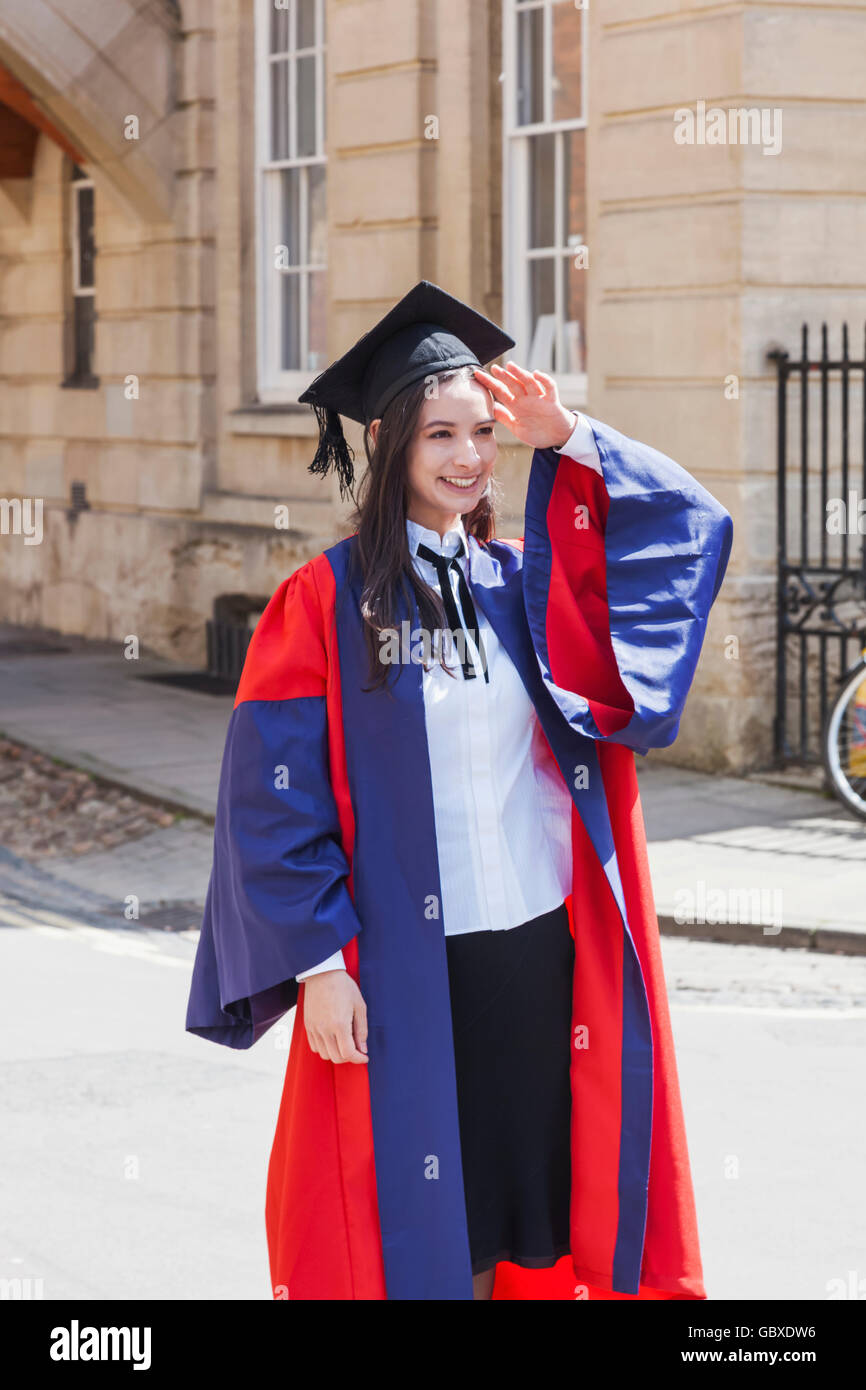 England, Oxfordshire, Oxford, Female Student Dressed in Graduation ...