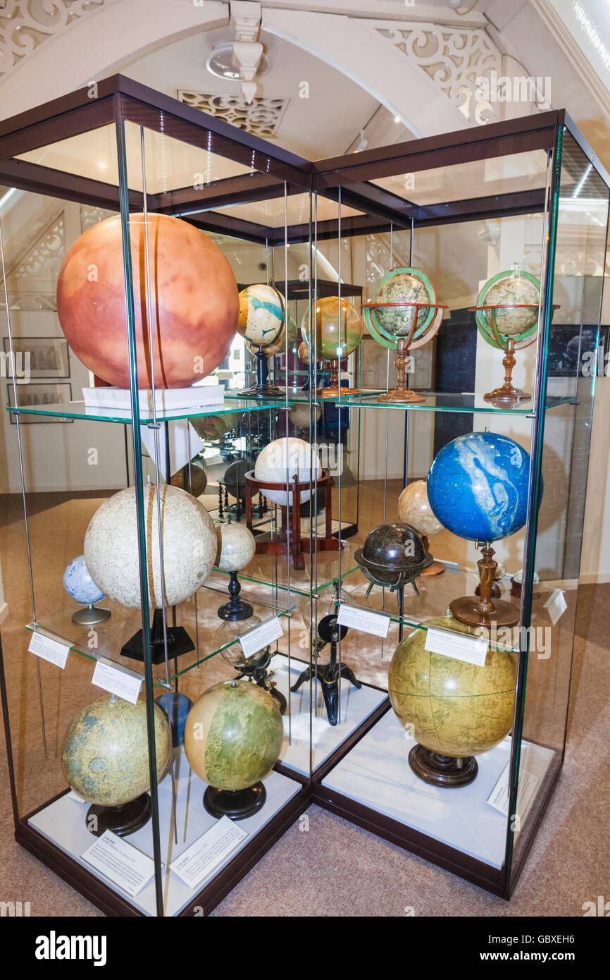England, Cambridgeshire, Cambridge, Whipple Museum of the History of Science, Display of Historical Globes - Stock Image