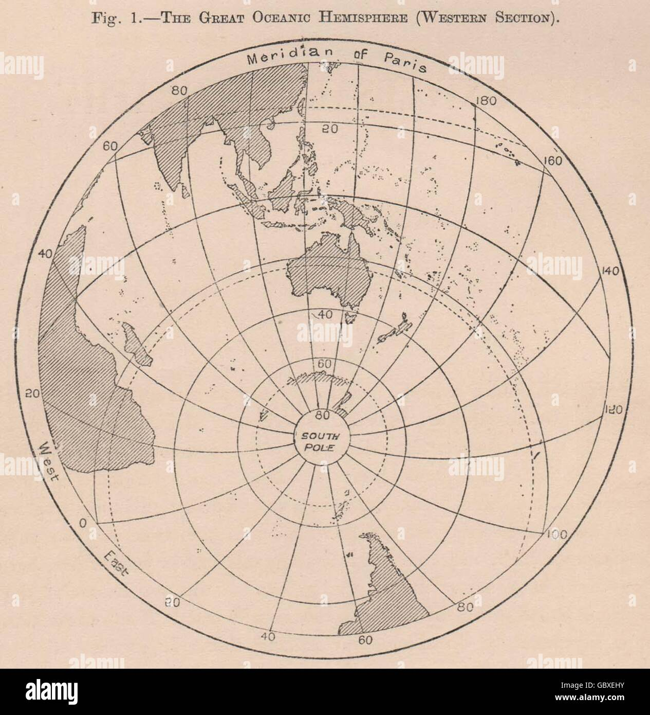 The Great Oceanic Hemisphere (Western Section) . World, 1885 antique map - Stock Image