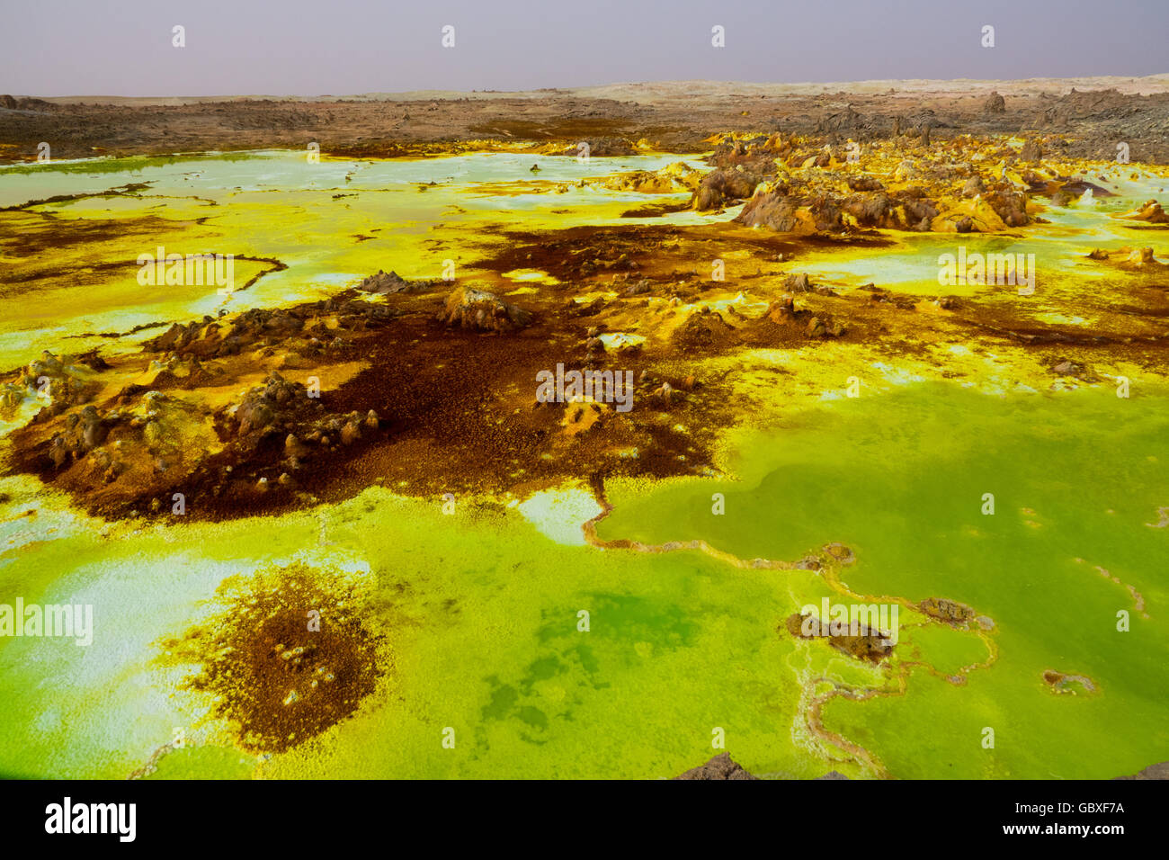 Dallol, a volcanically active area of bright chemicals in the Danakil Depression, Ethiopia - Stock Image