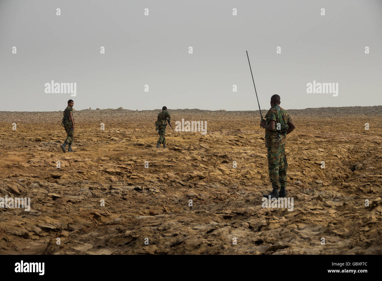 a military patrol stands guard at Dallol, Ethiopia, around 20km from the Eritrean border Stock Photo