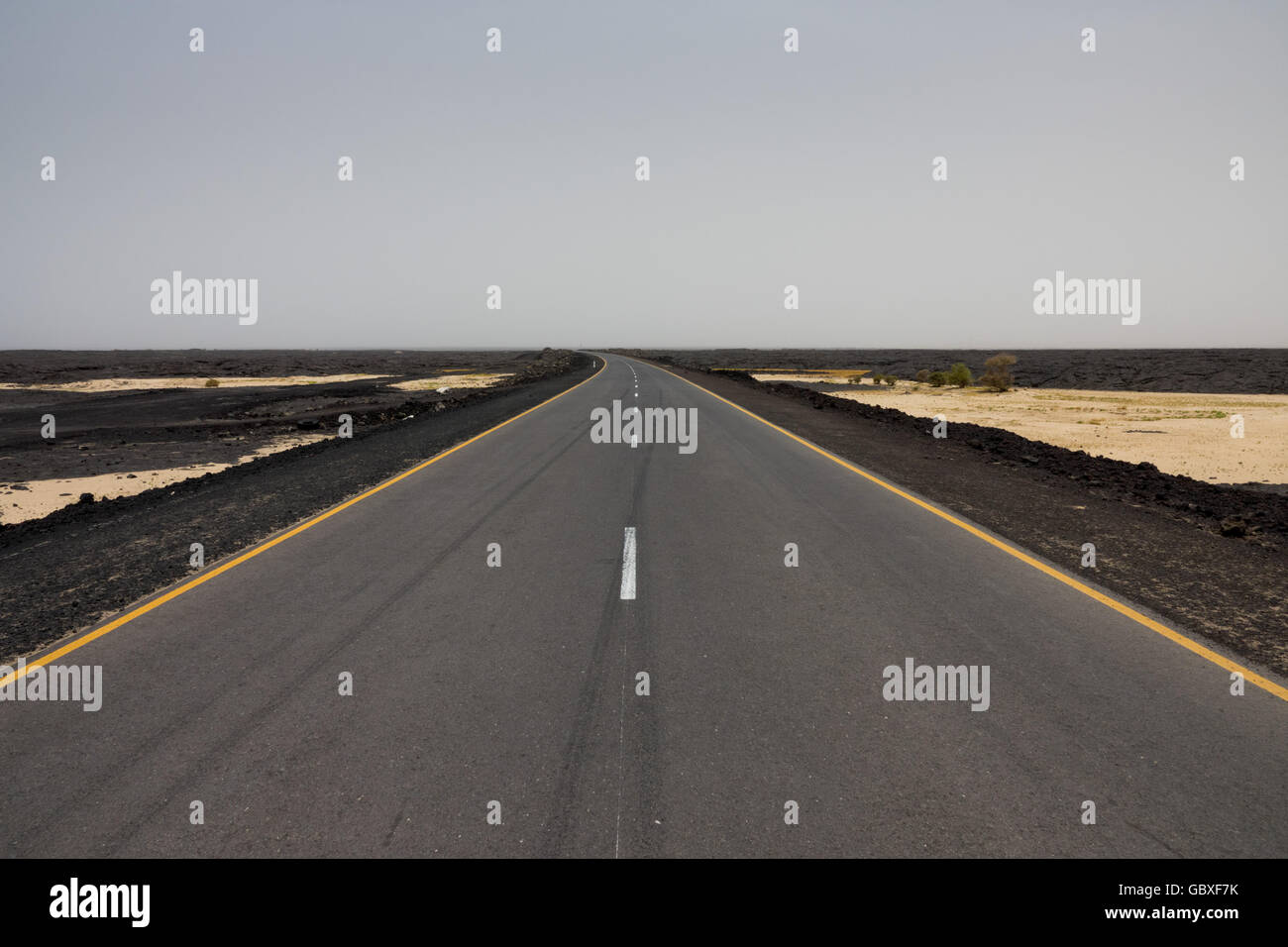 a Chinese-built highway between Ethiopia and Djibouti - Stock Image