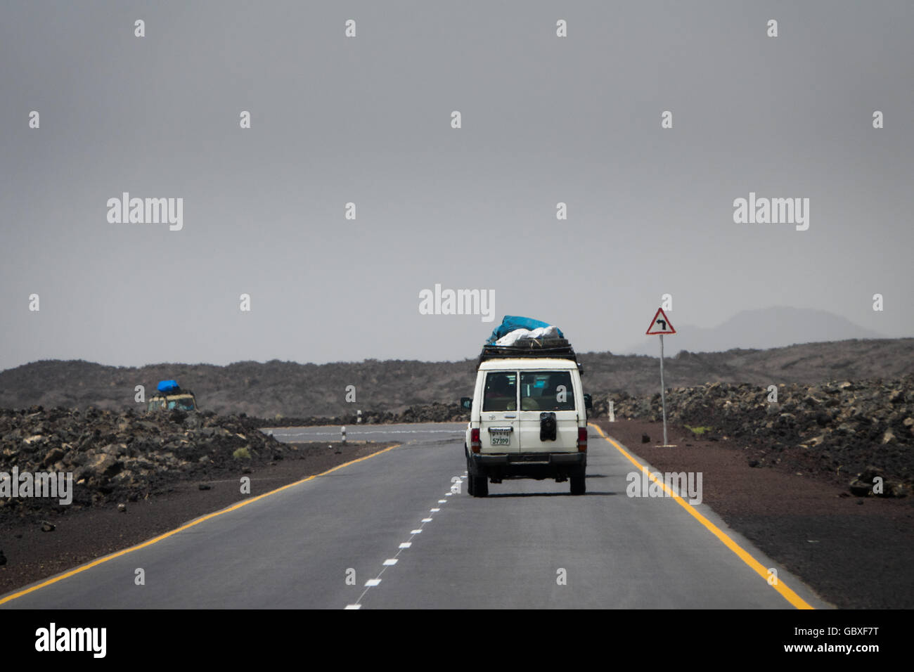 the Chinese-built highway between Mek'ele in northern Ethiopia, and the port of Djibouti - Stock Image