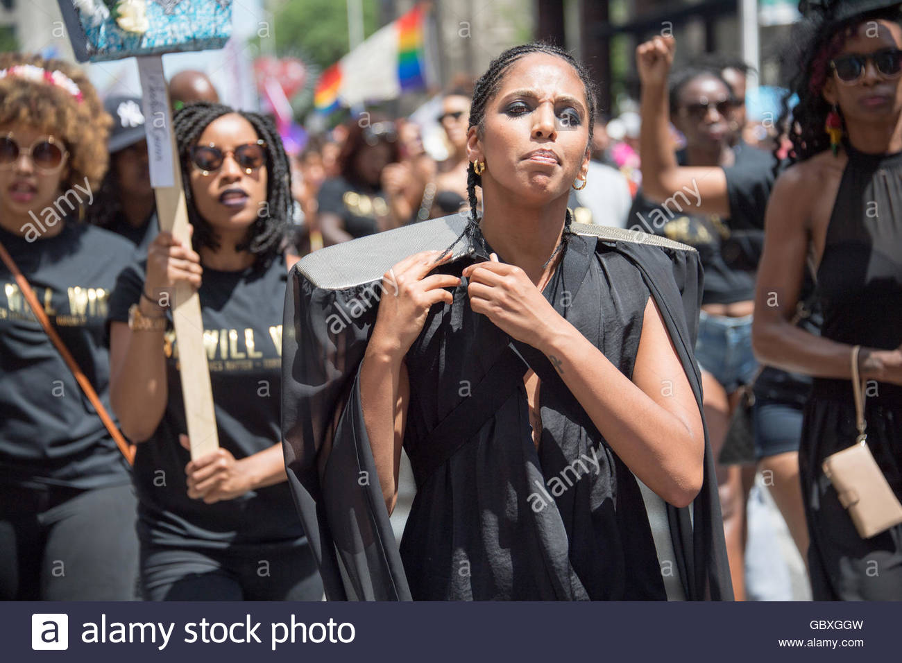 Toronto, Canada: Black Lives Matter halts the Toronto Pride Parade staging a sit-in and making demands to Pride - Stock Image