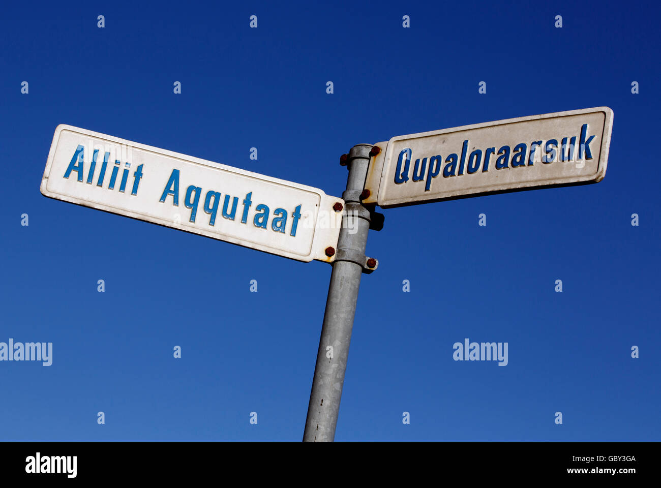 Greenlandic language street signs, Ilulissat, Greenland - Stock Image