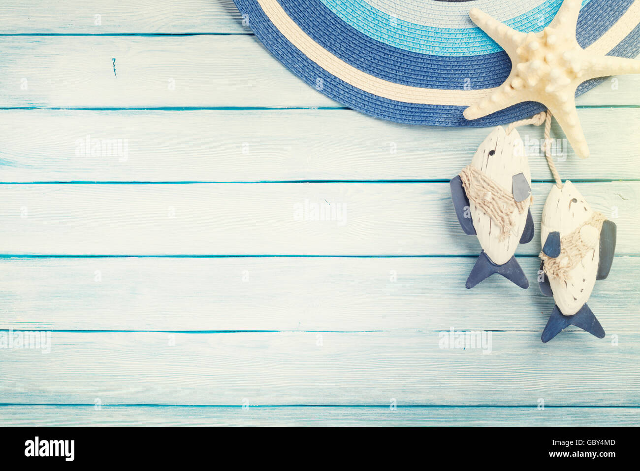 Beach Accessories Hat Starfish And Fish Decor On Wooden