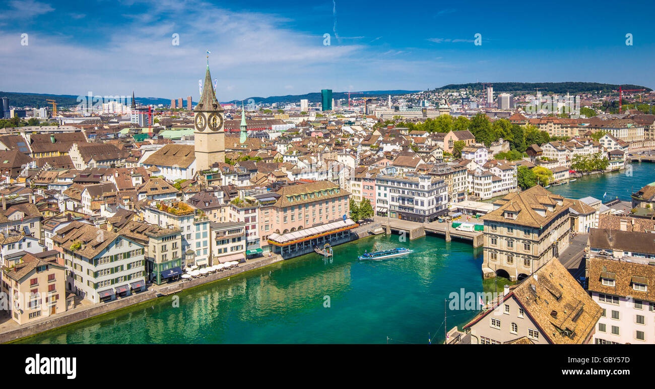 Aerial view of Zurich city center with famous St. Peter Church and river Limmat at Lake Zurich from Grossmunster, - Stock Image