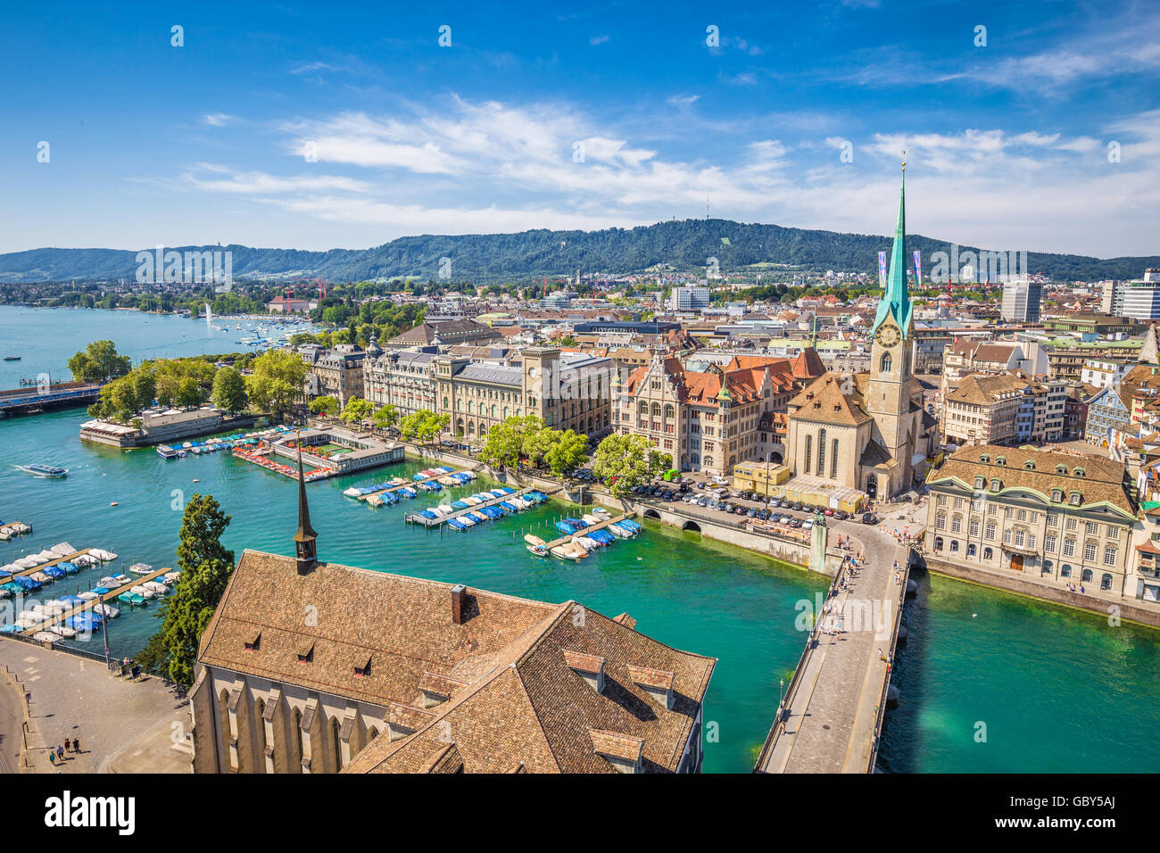 Aerial view of Zurich city center with famous Fraumunster Church and river Limmat at Lake Zurich from Grossmunster, - Stock Image
