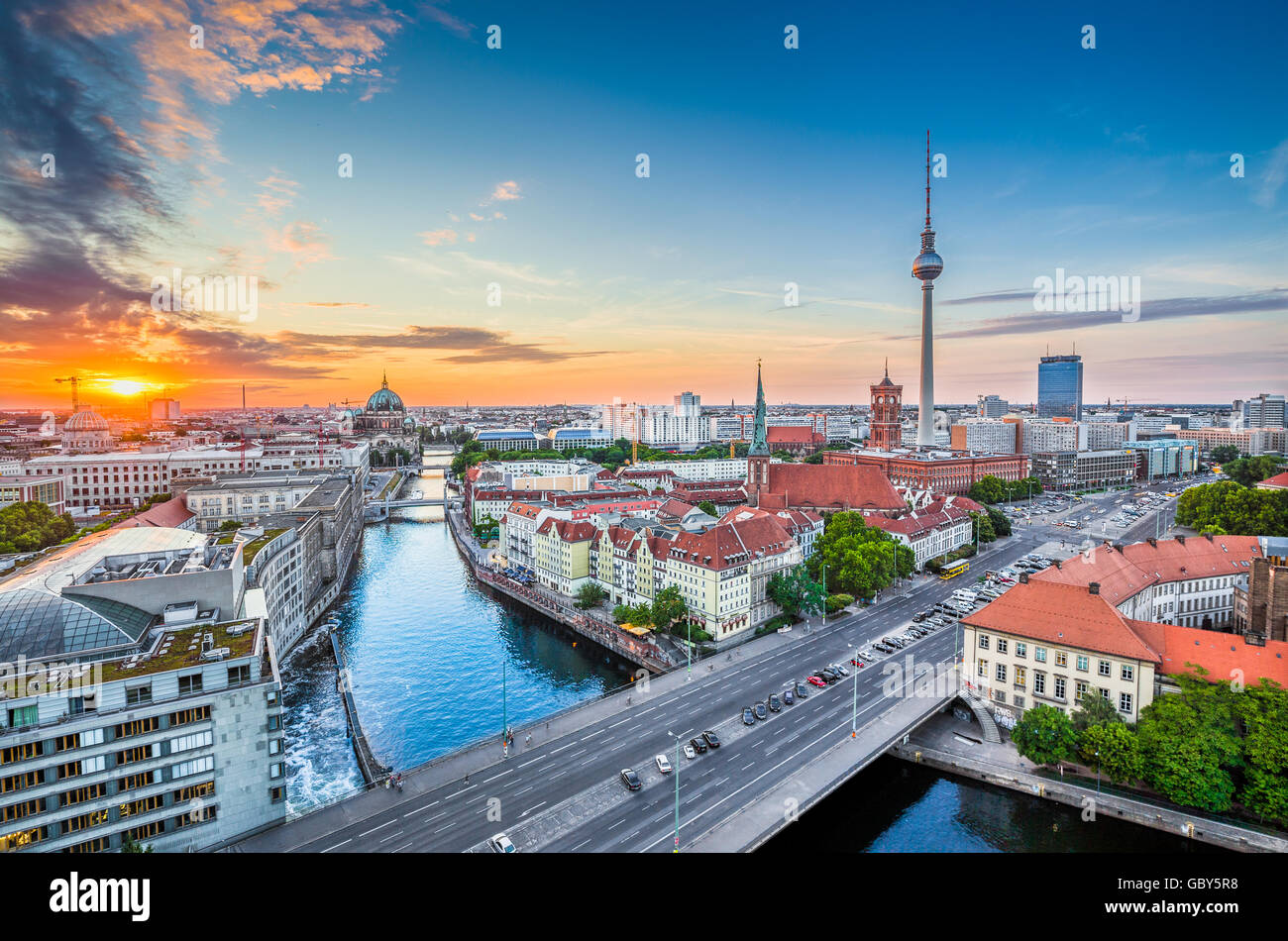 Aerial view of Berlin skyline with famous TV tower and Spree river in beautiful evening light at sunset, Germany - Stock Image