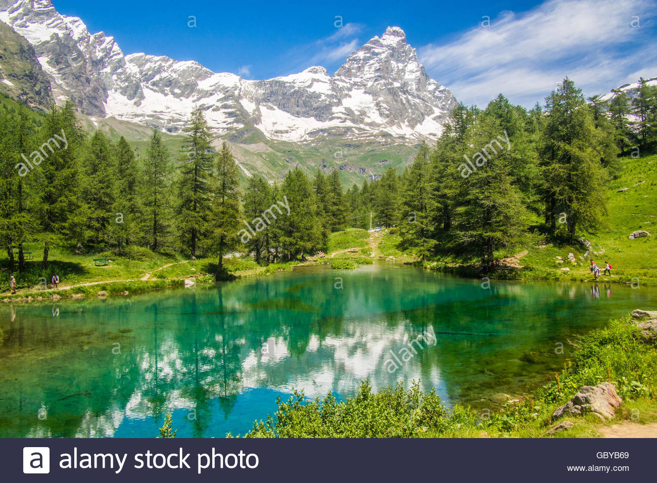 Lago Blu (Blue Lake) and the Cervino Mountain (aka Matterhorn in Switzerland), Aosta Valley, Italy. Stock Photo