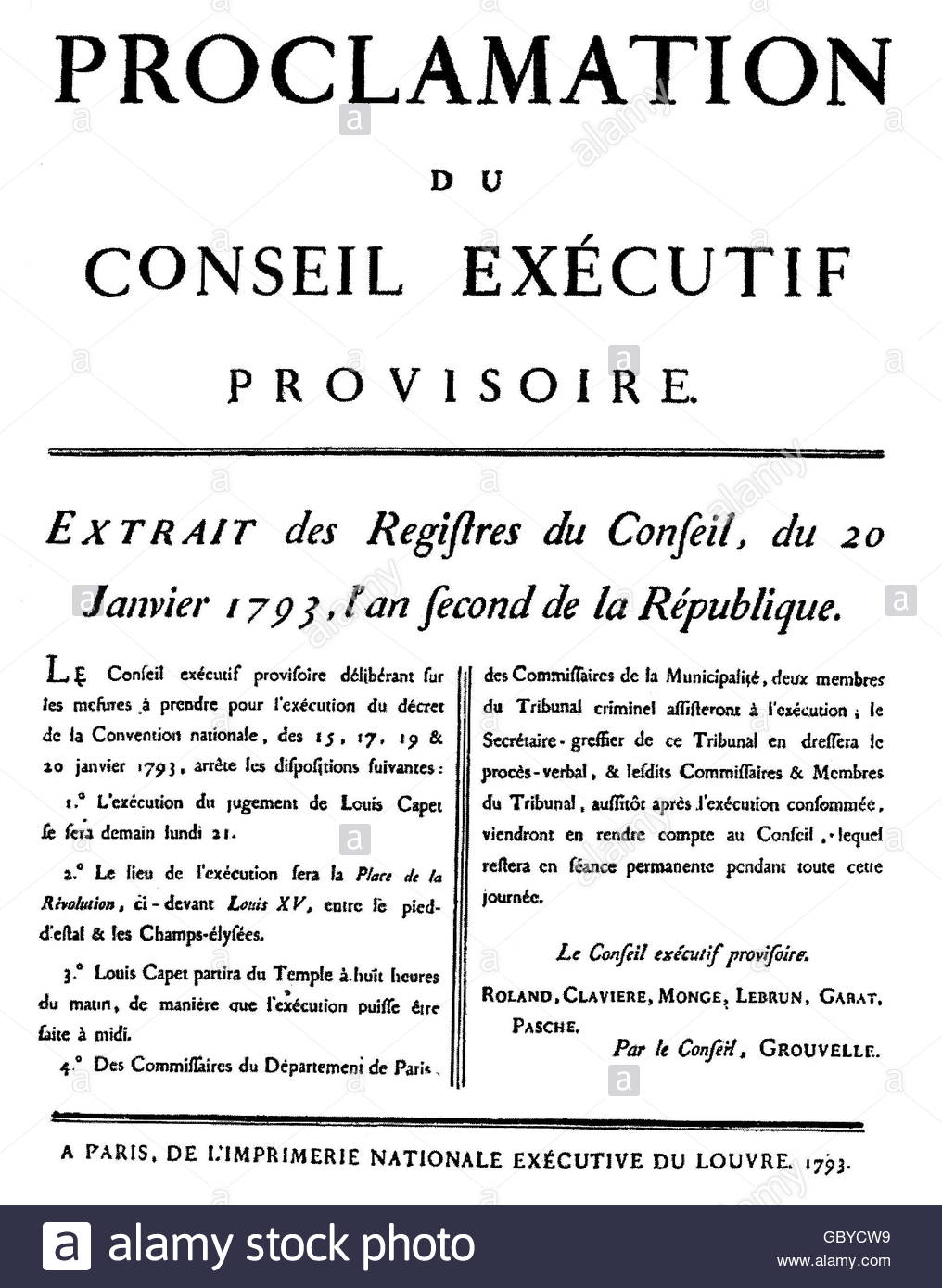 geography / travel, France, revolution 1789-1799, proclamation of the provisional executive committee for the execution - Stock Image