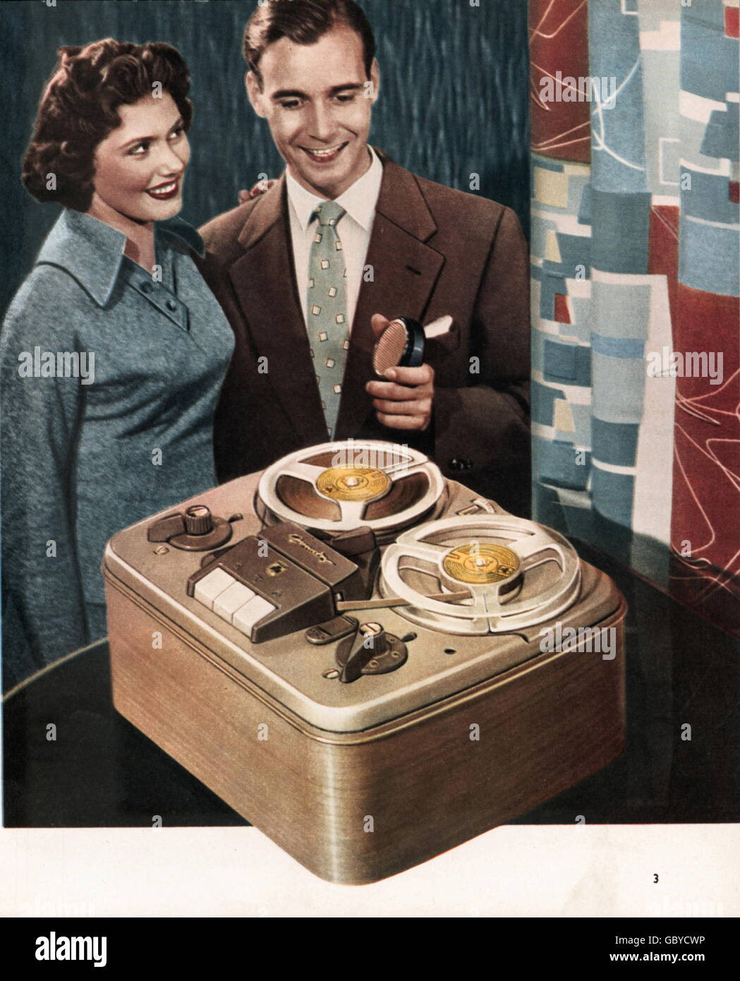 technics, tape recorders, advertising prospect for Grundig tape recorder and dictaphones, couple with tape recorder - Stock Image