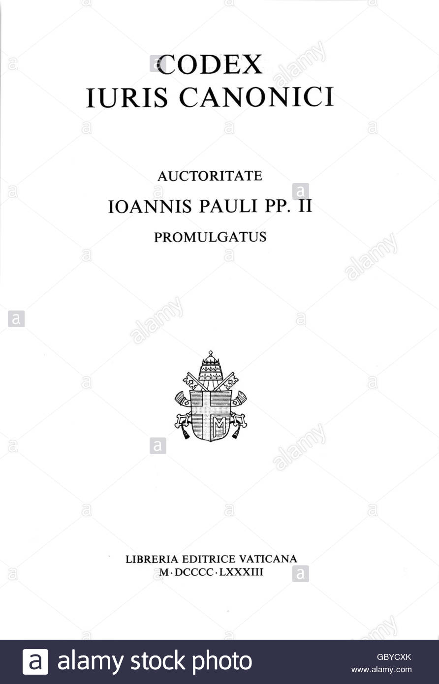 justice, laws, canon law, 'Codey iuris canonici', canonical law, authorized by pope John Paul II, Libreria - Stock Image
