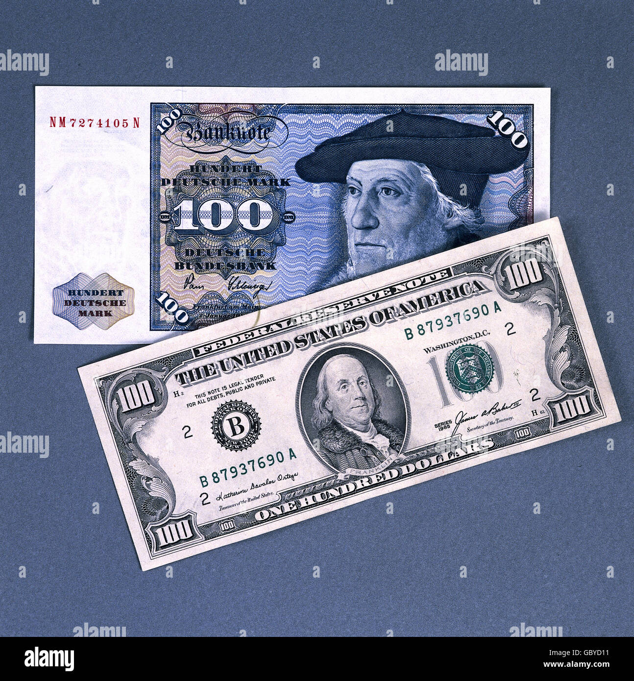 money / finance, bank notes, 100 DM and 100 dollar, 1960s - 1980s, Additional-Rights-Clearences-NA - Stock Image
