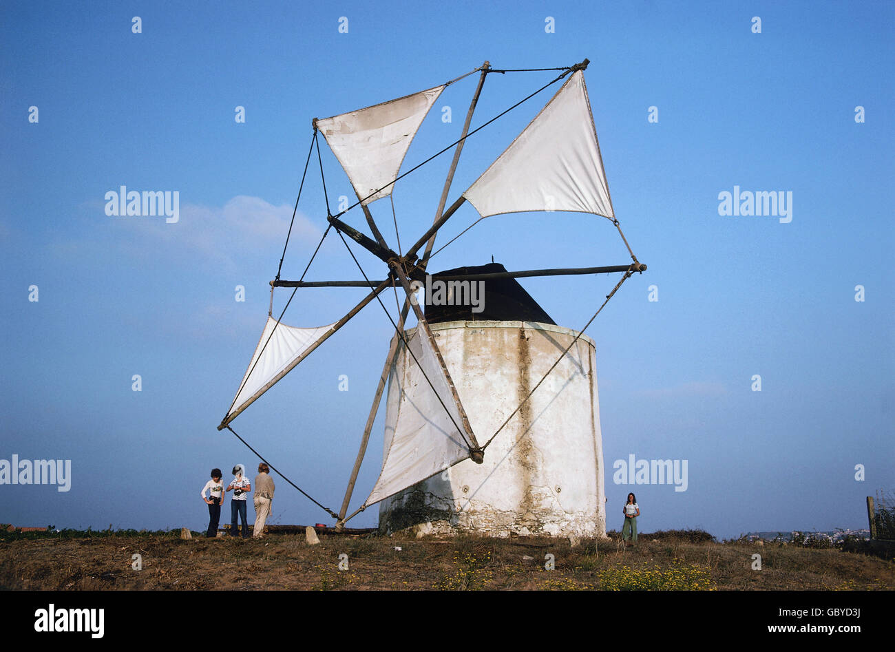 energy, wind power, windmill near Peniche, Estremadura, Portugal, 1975, Additional-Rights-Clearences-NA - Stock Image