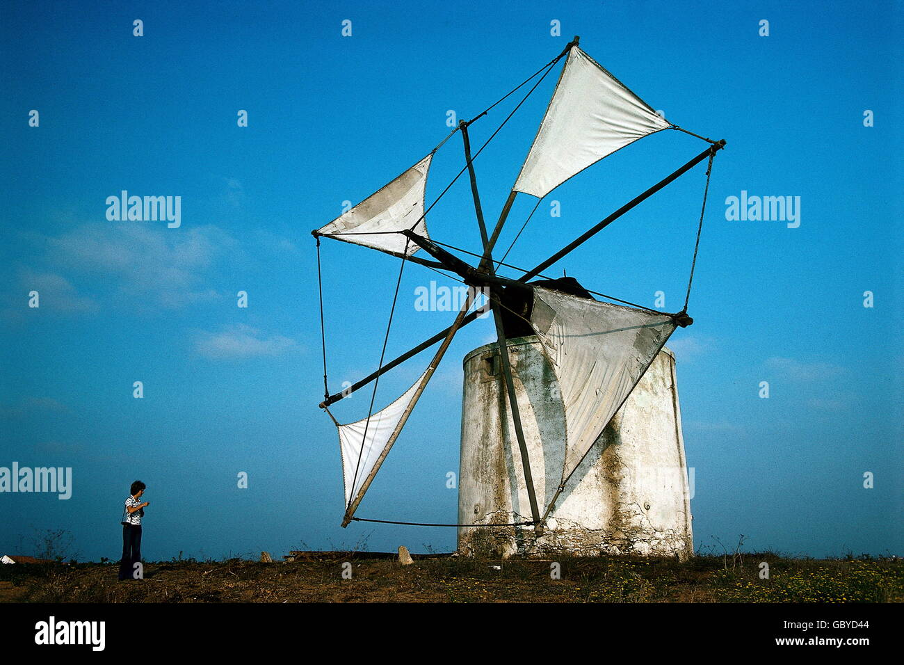 energy, wind power, windmill near Peniche, Portugal, 1975, Additional-Rights-Clearences-NA - Stock Image