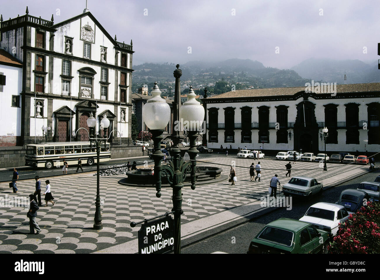 geography / travel, Portugal, Madeira, Funchal, Praca do Municipio with collegiate church Sao Joao Evangeliste and - Stock Image