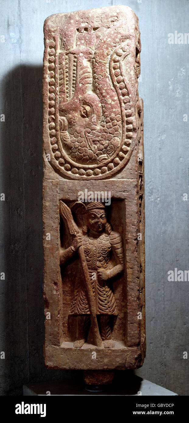 fine arts, India, warrior with lance, above: Makara (sea monster), relief, Mathura stone, 2nd - 4th century AD, - Stock Image