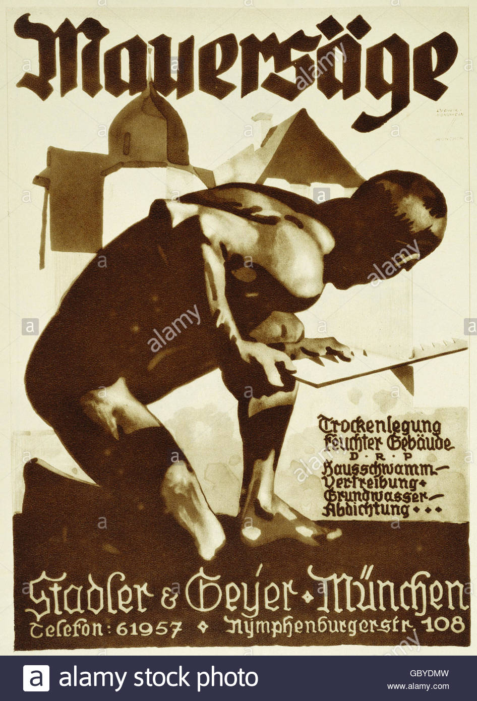 advertising, tools, wall saw, Stadler and Geyer, Munich, poster, by Ludwig Hohlwein (1874 - 1949), circa 1925, Artist's - Stock Image