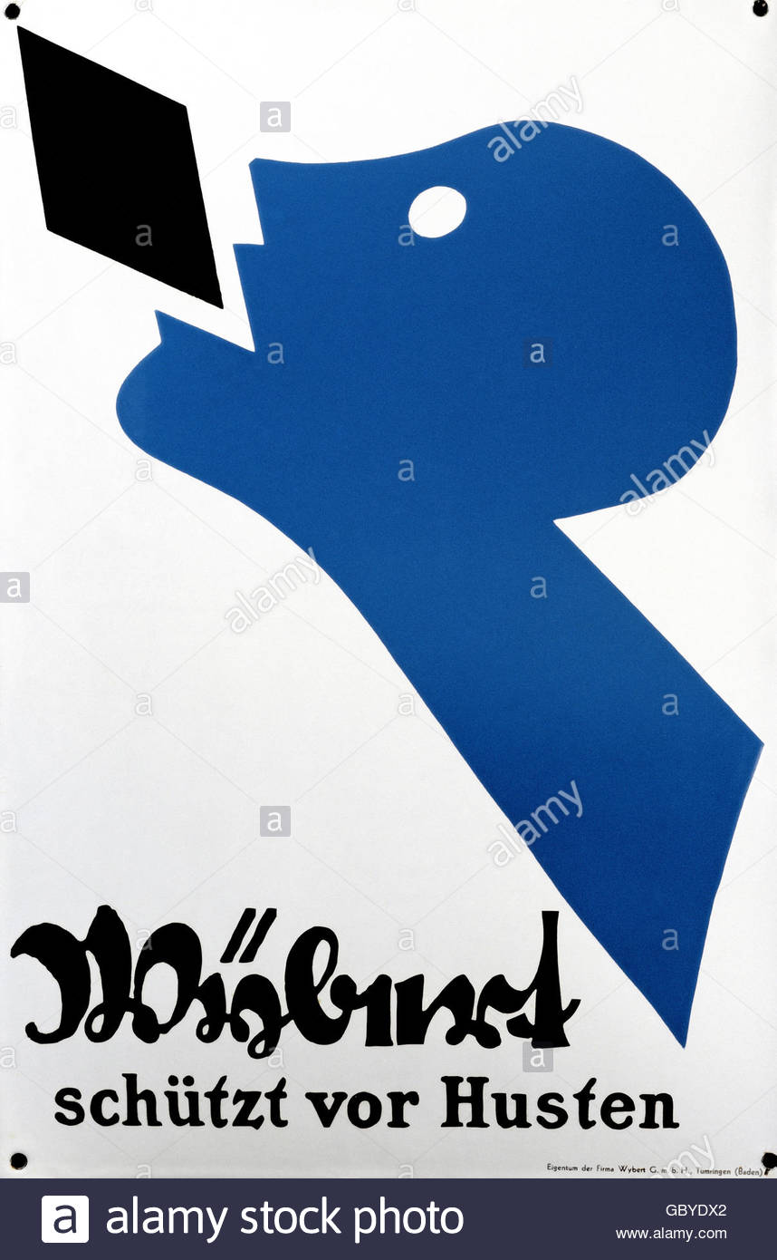 advertisement, medicine, drugs, 'Wybert schuetzt vor Husten' (Wyberts protects from cough), enamel plate, - Stock Image
